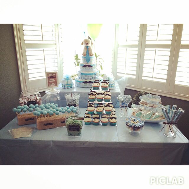 Mustache and tie themed baby shower