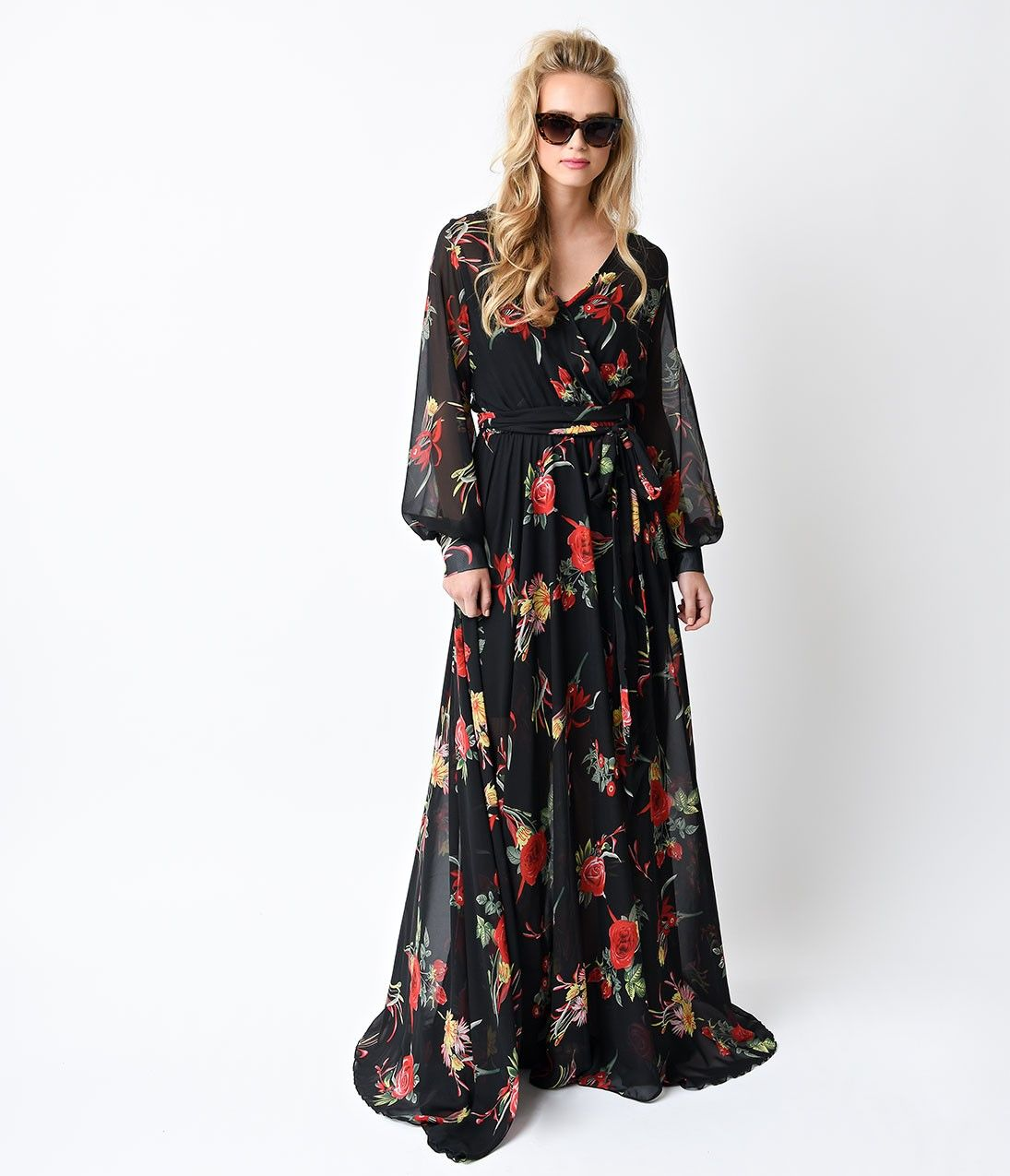 1970s style black floral long sleeve maxi dress 1970s