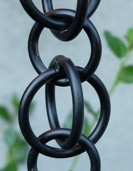 Double Loops Matte Black Aluminum Rain Chain Lightweight 13 Per Foot Custom Lengths Free Shipping Rain Chain Aluminum Rain Chains Rain Chain Installation