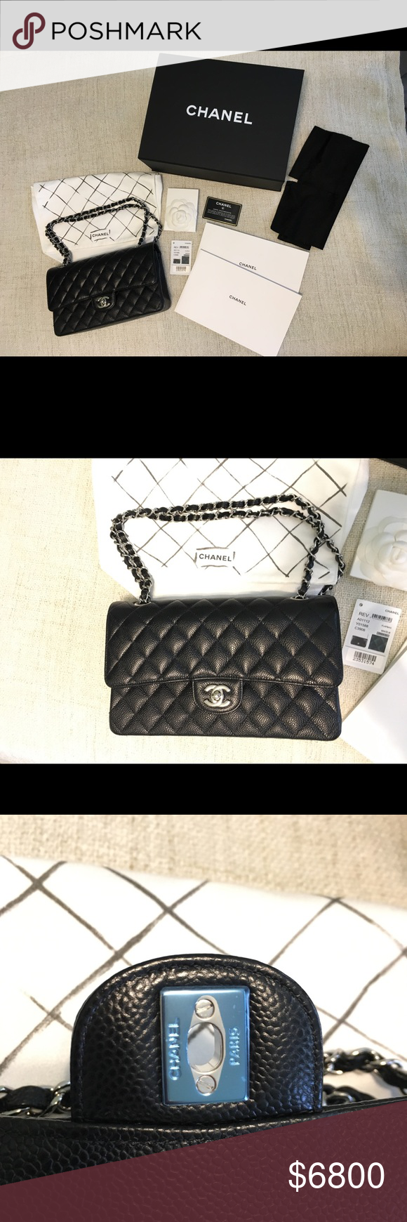 685ed5e696ff Chanel Medium/Large Classic Flap Black Caviar SHW Authentic Chanel Classic  Flap Medium / Large
