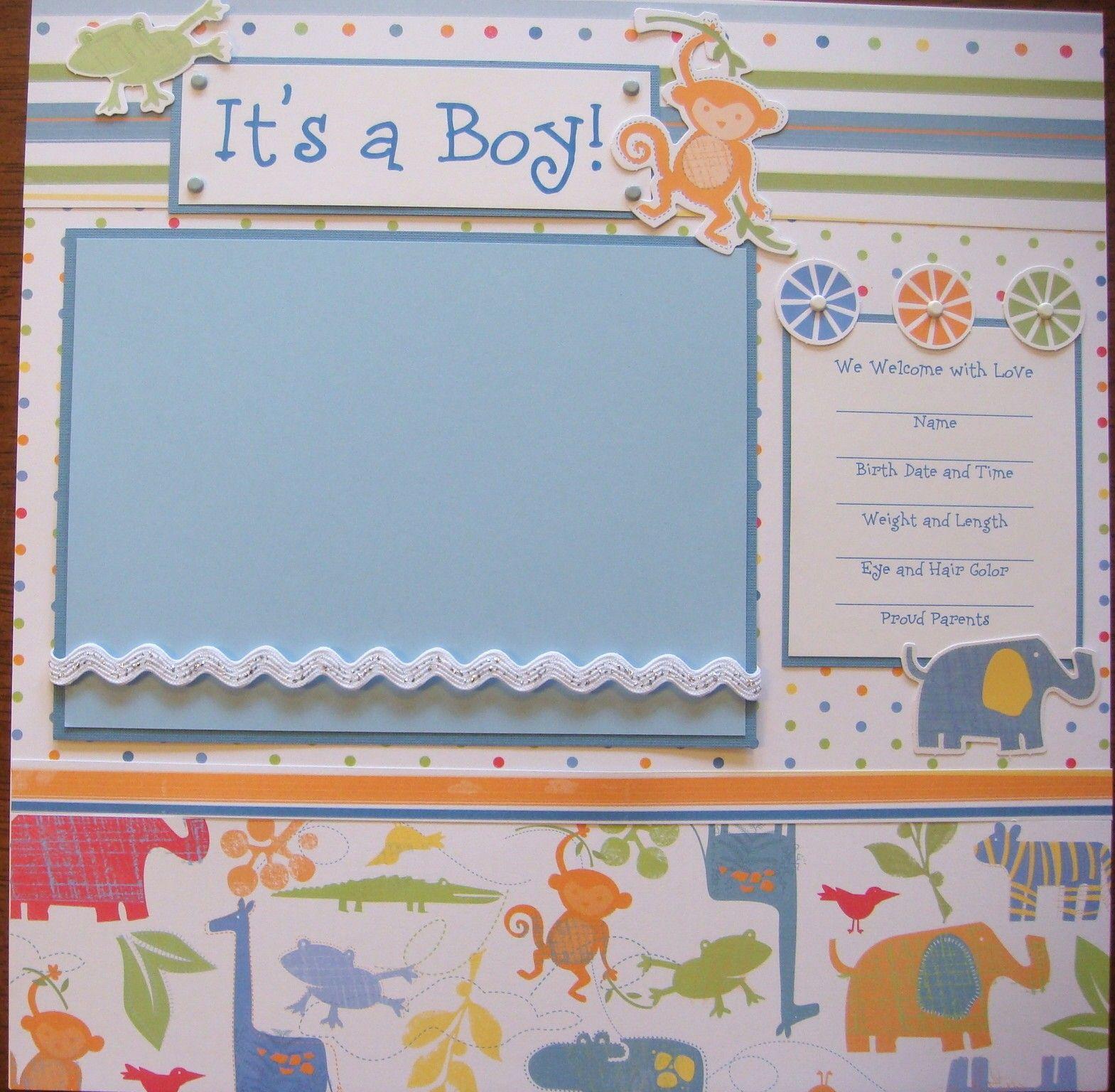 Scrapbook ideas baby milestones - Baby Boy Safari 20 Premade Scrapbook Pages So Cute