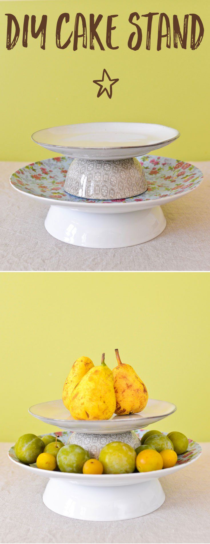 A genius trick to make a DIY cake stand out of ordinary dinner plates and bowls. Transform your buffet tables and bring levity to your kitchen counter!