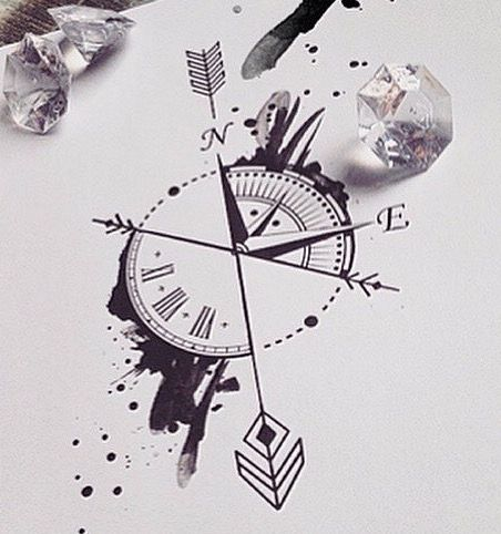Kompass bleistiftzeichnung  Kompass Uhr … | Pinteres…
