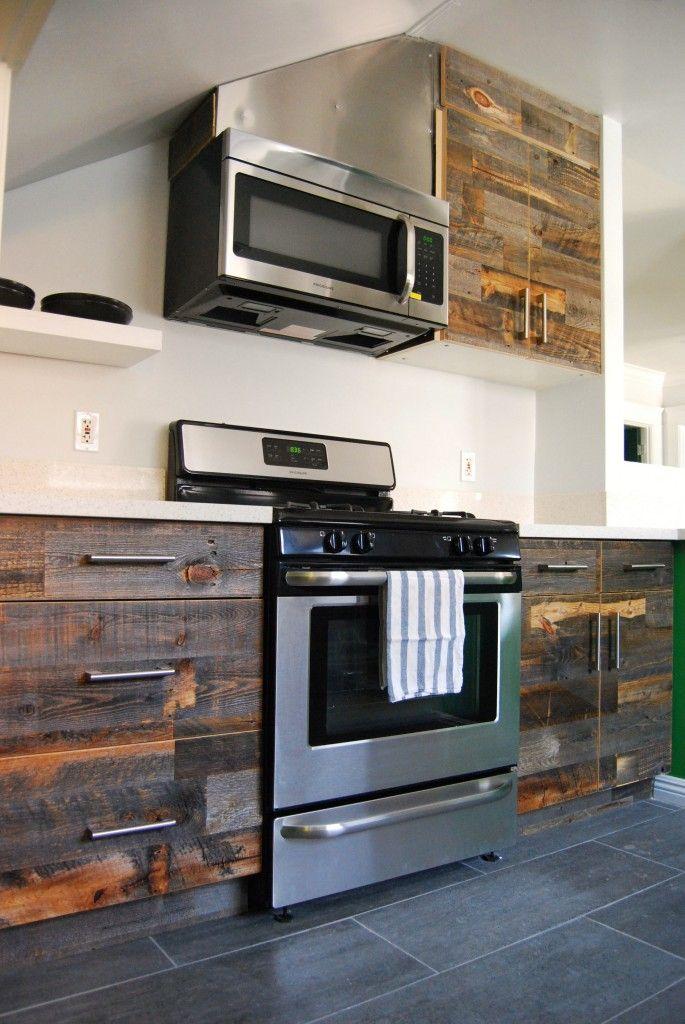 Veneer Designs Reclaimed Wood Kitchen Finish Kitchen Cabinets Kitchen Inspirations