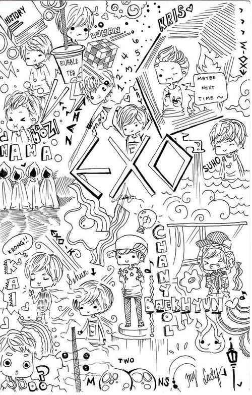 Exo coloring book buku mewarnai pinterest exo Coloring book kpop