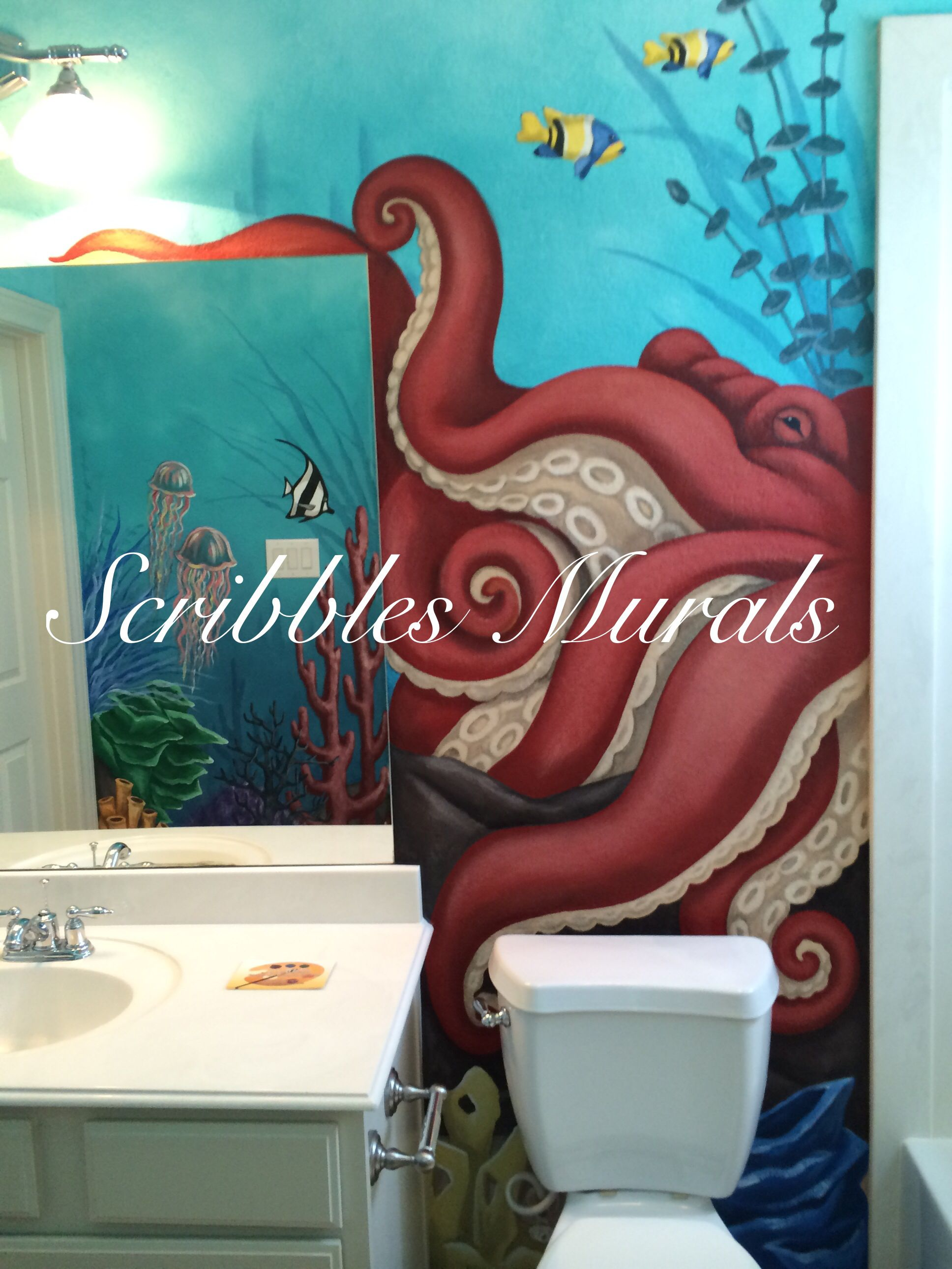 Sea life mural in child's bathroom by Scribbles Murals