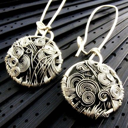 Circles Silver Earrings Style Wire Jewelry Handmade
