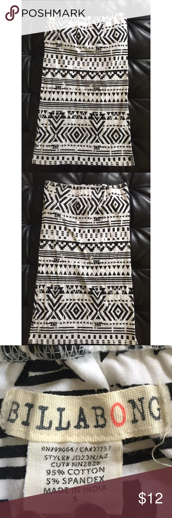 Black and white print dress This form fitting tube top dress is amazing. Black and white pattern makes it stand out! Worn once too big for me. Billabong Dresses Mini