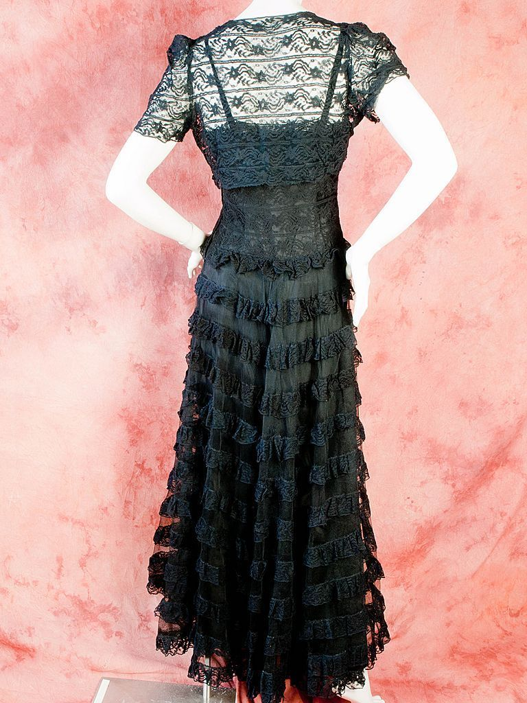 1930\'s Black Lace and Tulle Gown and Lace Bolero Jacket | Black ...
