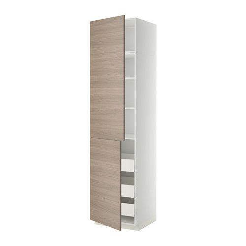 IKEA - METOD/MAXIMERA, Hi cab w shlvs/3 drawers/2 doors, white ...