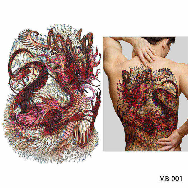 Big Large Full Back Chest Chinese Red Dragon Tattoo Temporary Sticker Body Art for sale online | eBay