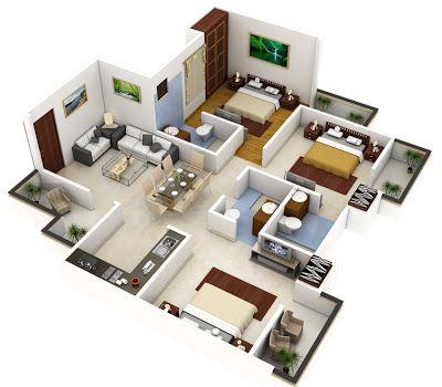 planos de casas de dos pisos en 3d con medidas