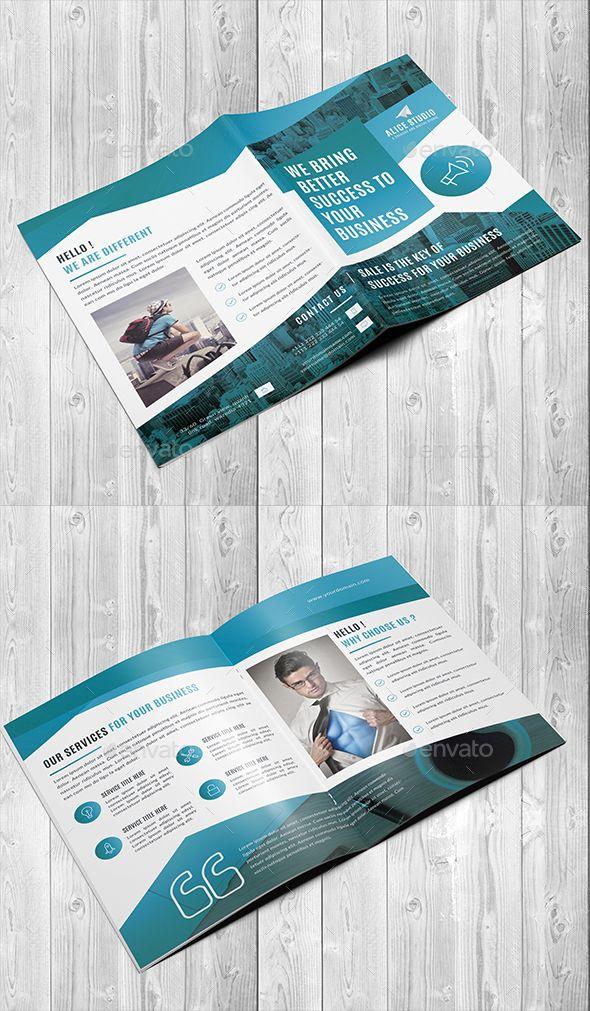 corporate bi fold brochure template desain brosur pinterest