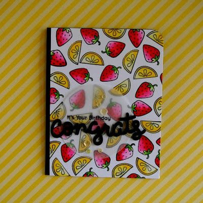 """A birthday card using the """"Summertime Charm"""" stamp set from Lawn Fawn."""