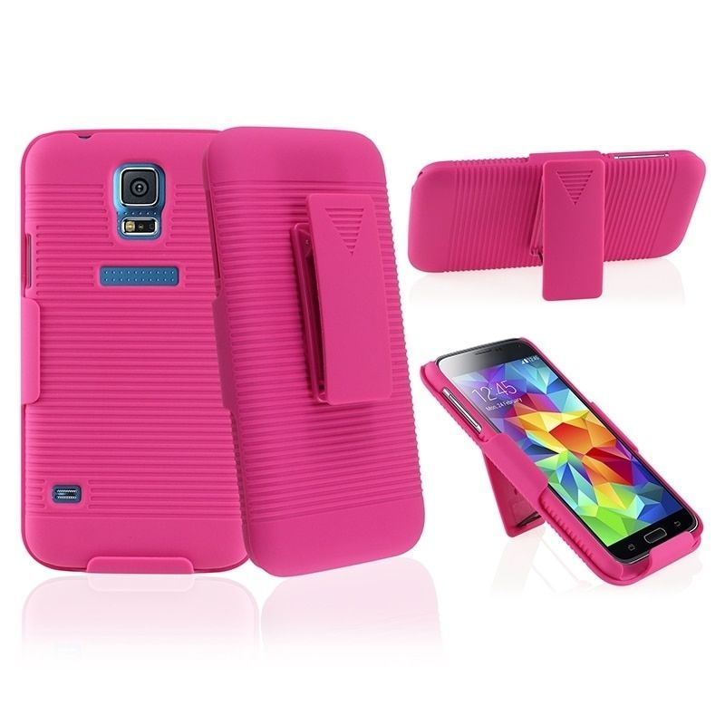 Insten Holster Belt Clip Dual Layer Hybrid Phone Case Cover for Samsung Galaxy S5/ SV