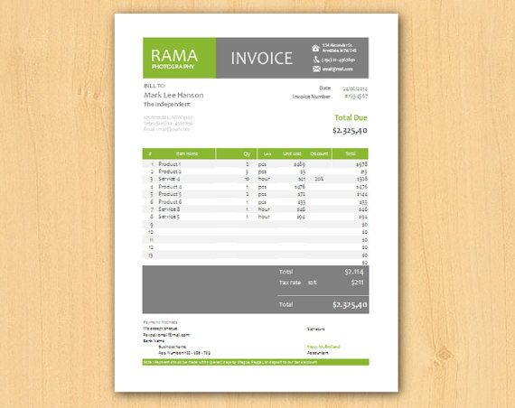 Editable Modern Professional Excel Business Invoice Template, easy - use of an invoice