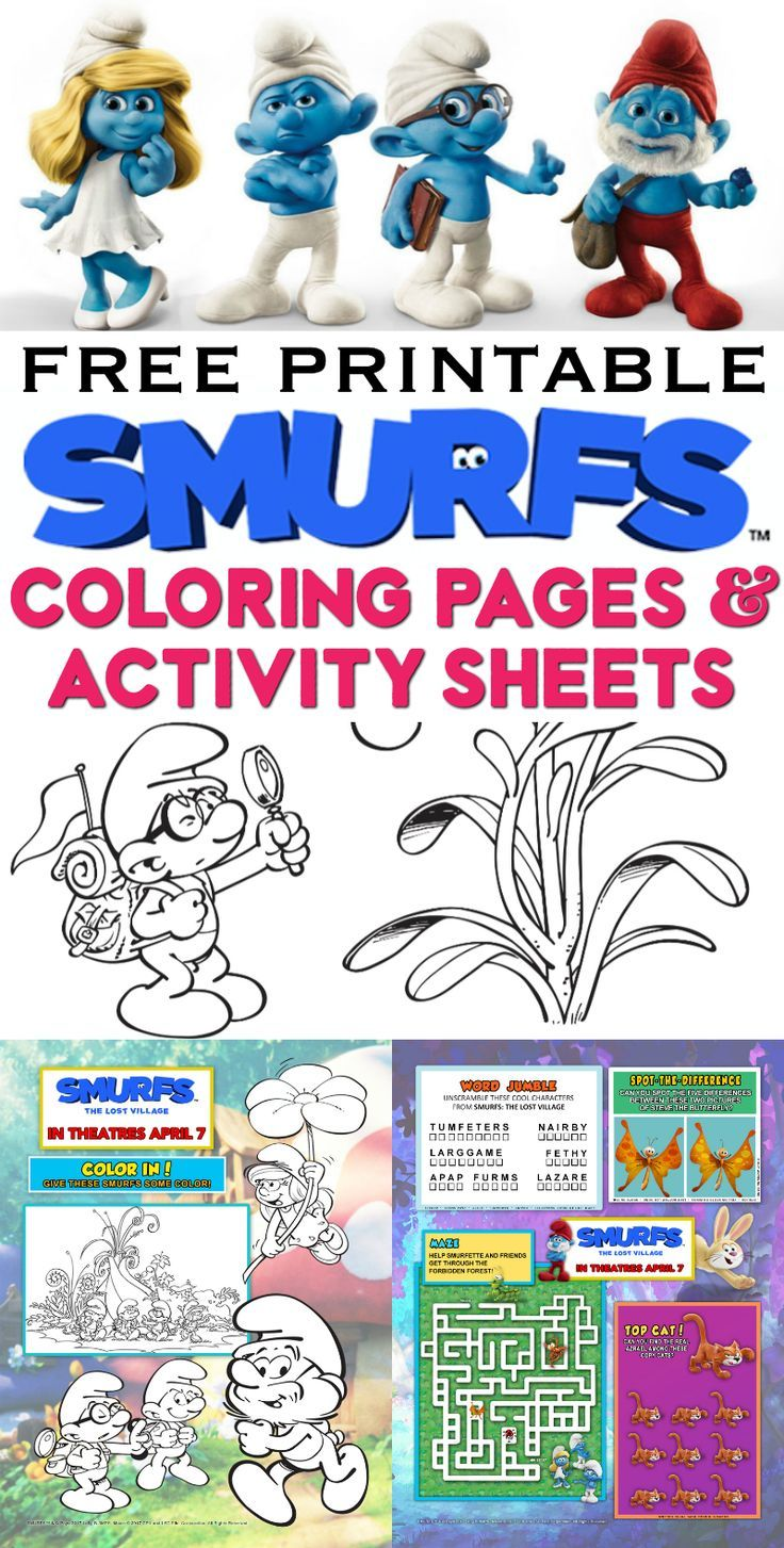 Free Printable Smurfs Coloring Pages, Activity Sheets | Cumple