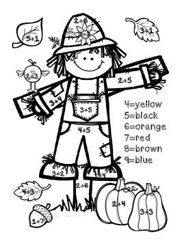 Fall Freebie Pack Fall Math Math Coloring Kindergarten Addition Worksheets