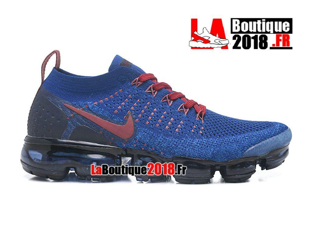 promo code 2ce15 0d6f1 Nike Air VaporMax Flyknit 2 Bleu Noir Rouge 942842-008 Chaussure de Running Nike  Pas