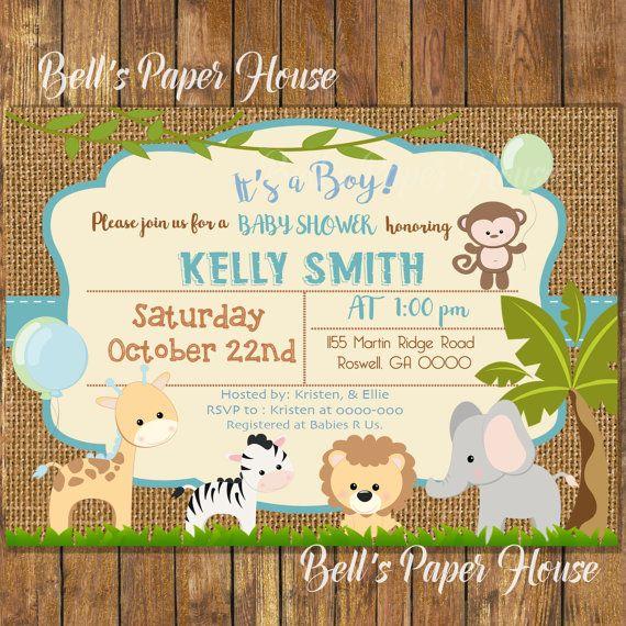 Digital File Or Printedsafari Baby Shower Invitationbaby Boy