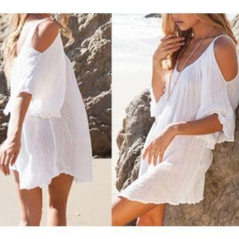 Vestidos blanco corto con manga