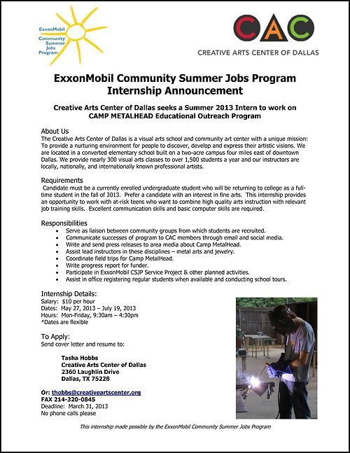 Paid Summer 2013 Internship With Creative Arts Center Of Dallas Art Center Summer Jobs Social Practice