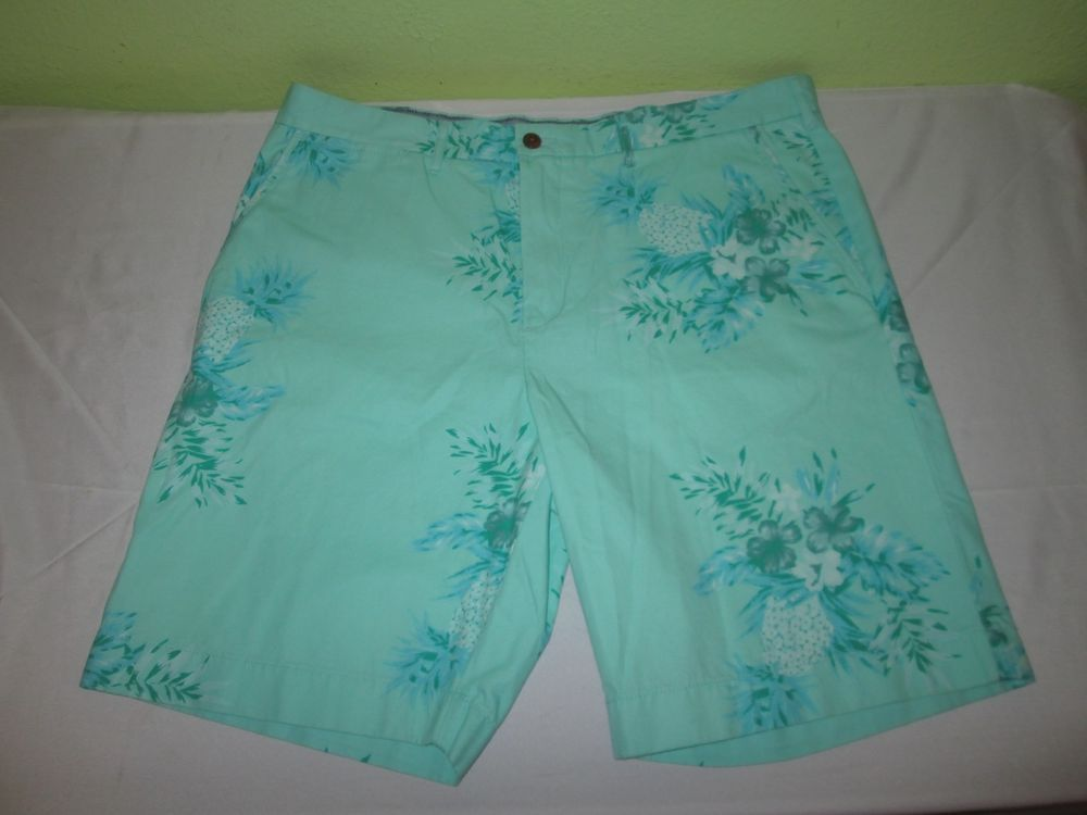 NEW Men's TOMMY HILFIGER Flat Front Hawaiian Shorts 38 - Green Floral Pineapple #TommyHilfiger #CasualShorts