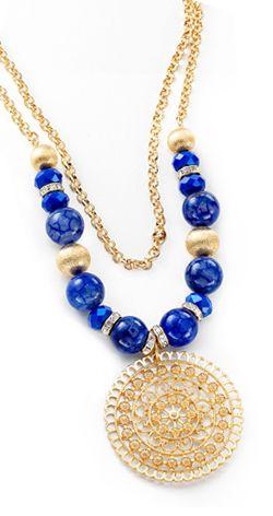 3c96fc7592b7 NICE regalos hermosos- Collar de piedras de cristal. Joyeria con 4 baños en  oro de 18 kilates.
