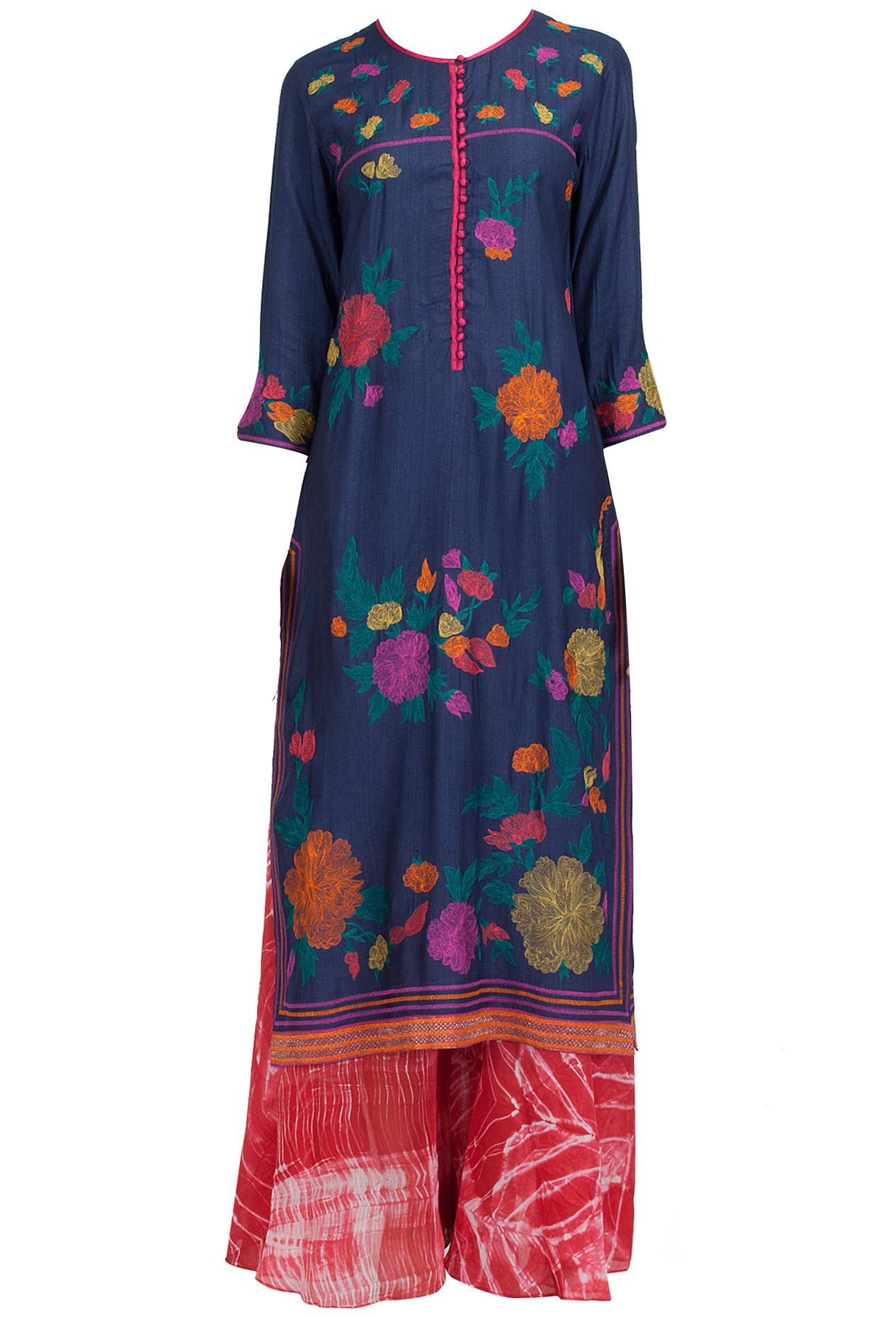 Navy embroidered long dress with shibori palazzo available only at