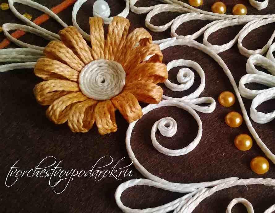 93d6872e3584 Джутовая филигрань мастер-класс как сделать цветы своими руками пошагово  для начинающих.Простые цветы