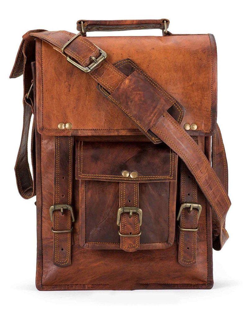 d2d3087452 Men s Rustic Genuine Leather Messenger Shoulder Bag Small Cross Body  Satchel  Handmade  MessengerShoulderBag