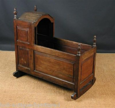 Antique English Oak Cradle Ca 1780 Furniture Vintage