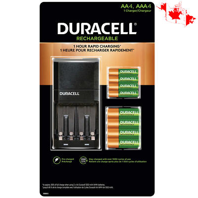 Duracell Rechargeable 1 Charger 4 Aa 4 Aaa Nimh Batteries 1 Hour Rapid Charging Duracell Rechargeable Batteries Nimh Battery Charger