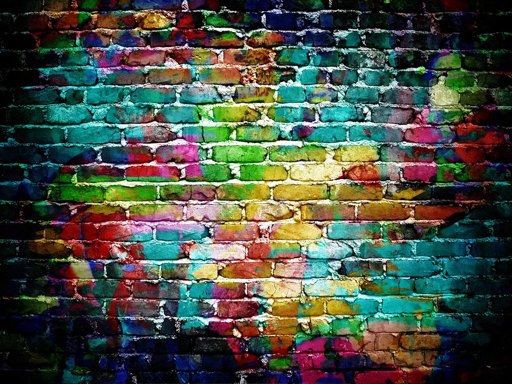 Brick wall graffiti personalise our wallpaper with your for Cool brick wall designs