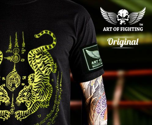 855decc303c8f Twin tigers Yellow Sak Yant T-shirt available from our store  www.artoffighting.asia