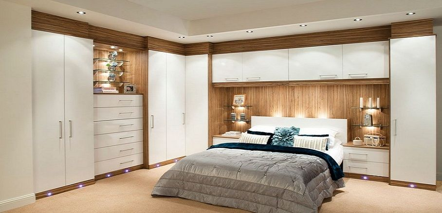 Glossy contemporary white fitted bedroom furniture built for Bedroom ideas with built in wardrobes