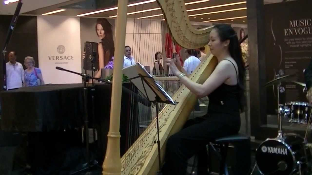 Classic Besame Mucho played on harp by Junedy   Live Music