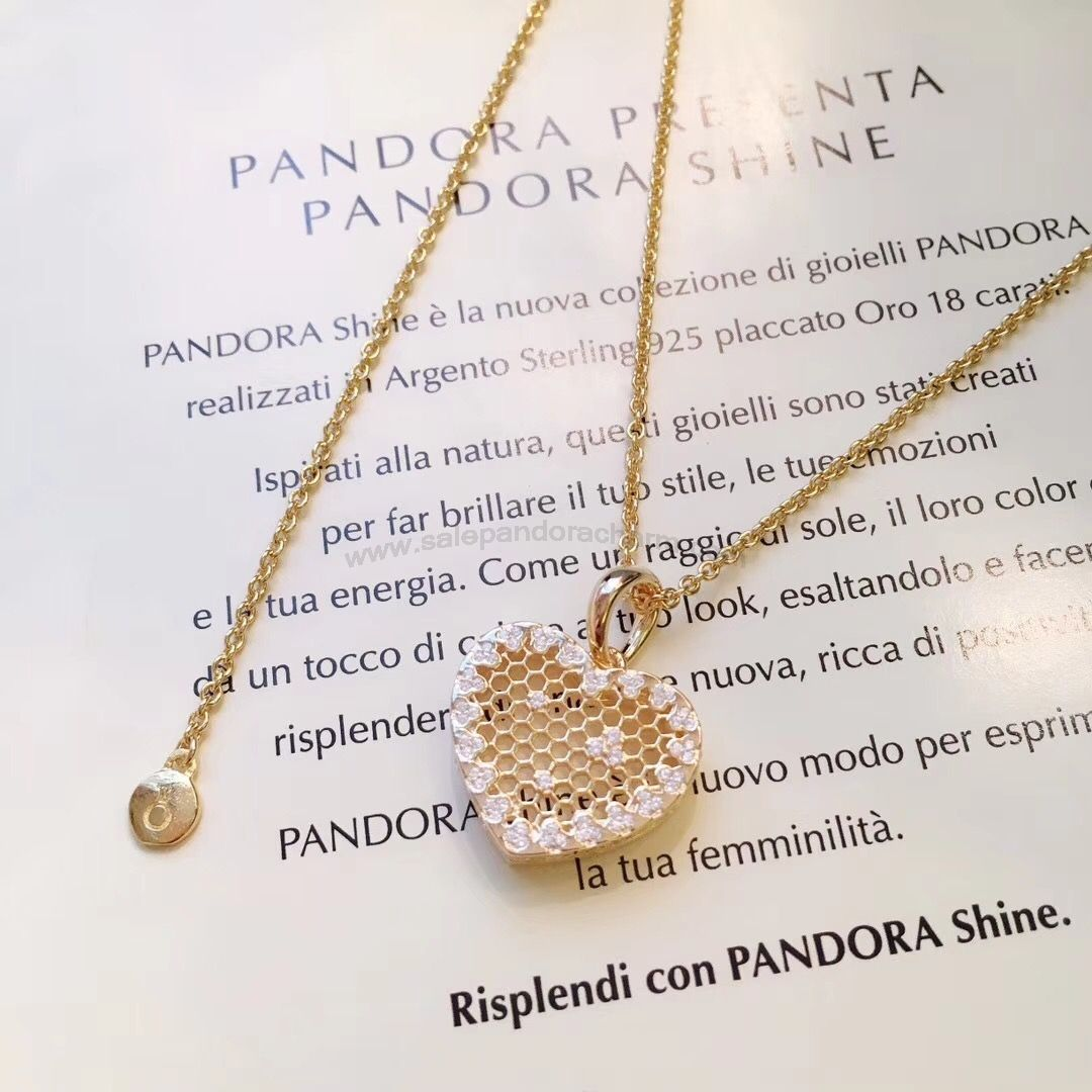443a0df15 2018 Discount PANDORA Shine Honeycomb Lace Necklace and Earring Set £53.00
