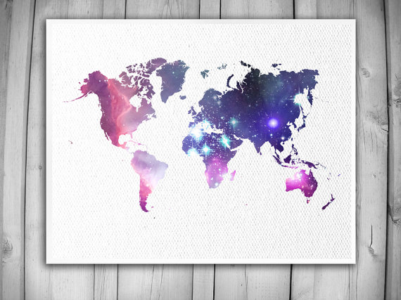 World Map Poster Galaxy Star Art Print Faux Canvas Textured Nursery Decor Baby Room