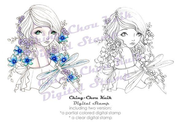 Hello Dragonfly – PRINTABLE Instant Download Digital Stamp / Flora Flower Insect Animal Fairy Faery Girl Art by Ching-Chou Kuik