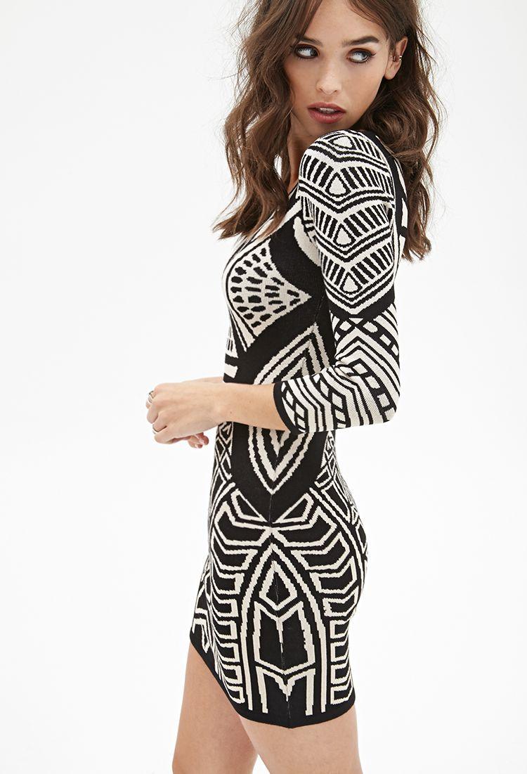 bdd89af78911 Geo Pattern Bodycon Dress