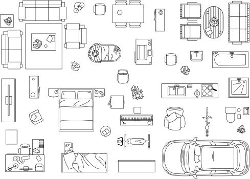 Vector image set of furniture appliances and car vector for Floor plan furniture planner