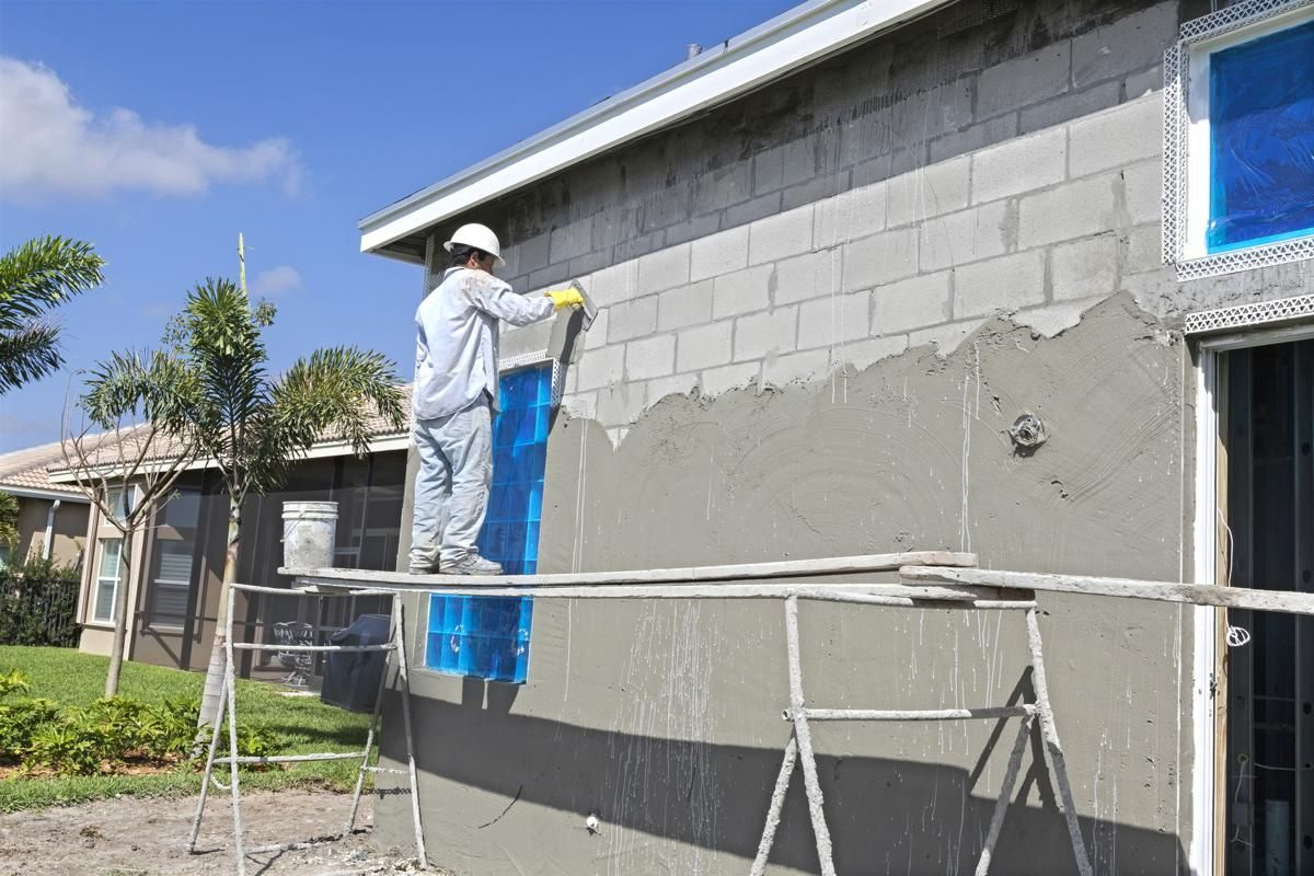 How To Stucco A Cinder Block Wall In 2020 Cinder Block Walls Concrete Block Walls Cinder Block House