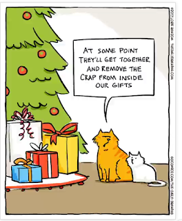Mystery Fanfare Cartoon Of The Day Cat Christmas Presents Cat Jokes Funny Cat Memes Christmas Cats