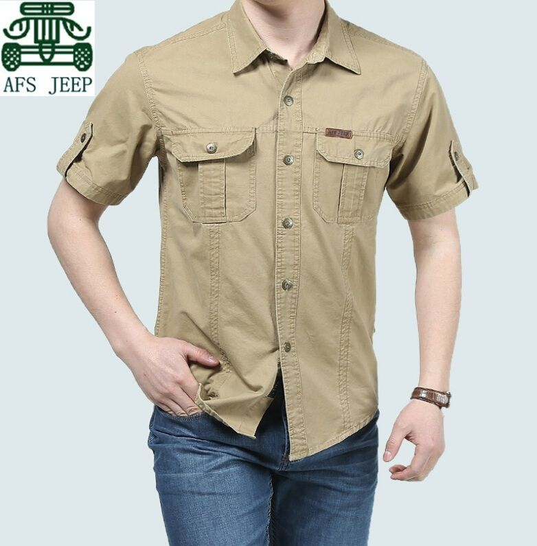 2183c82a6def AFS JEEP New Arrival 2015 Summer Cotton Cargo Shirts Short Sleeve,Army  Green Khaki Mens Plus Size Working Clothing,casual Shirt