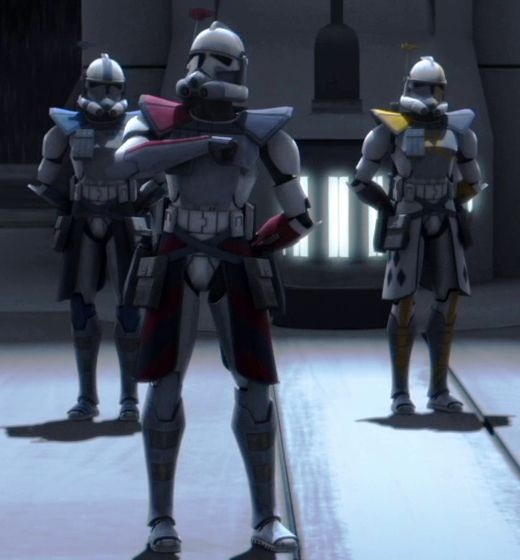"""ARC Troopers L to R. Havoc, Colt, and Blitz. Them plus Echo and Fives are some of the best ARC's that ever were! Havoc--Stern and focused on efficiency. Colt--A strong leader and trainer. Blitz--Ready for battle at a moment's notice. Echo--Follows orders to a """"T"""". Fives--A free-thinker with a quick wit."""