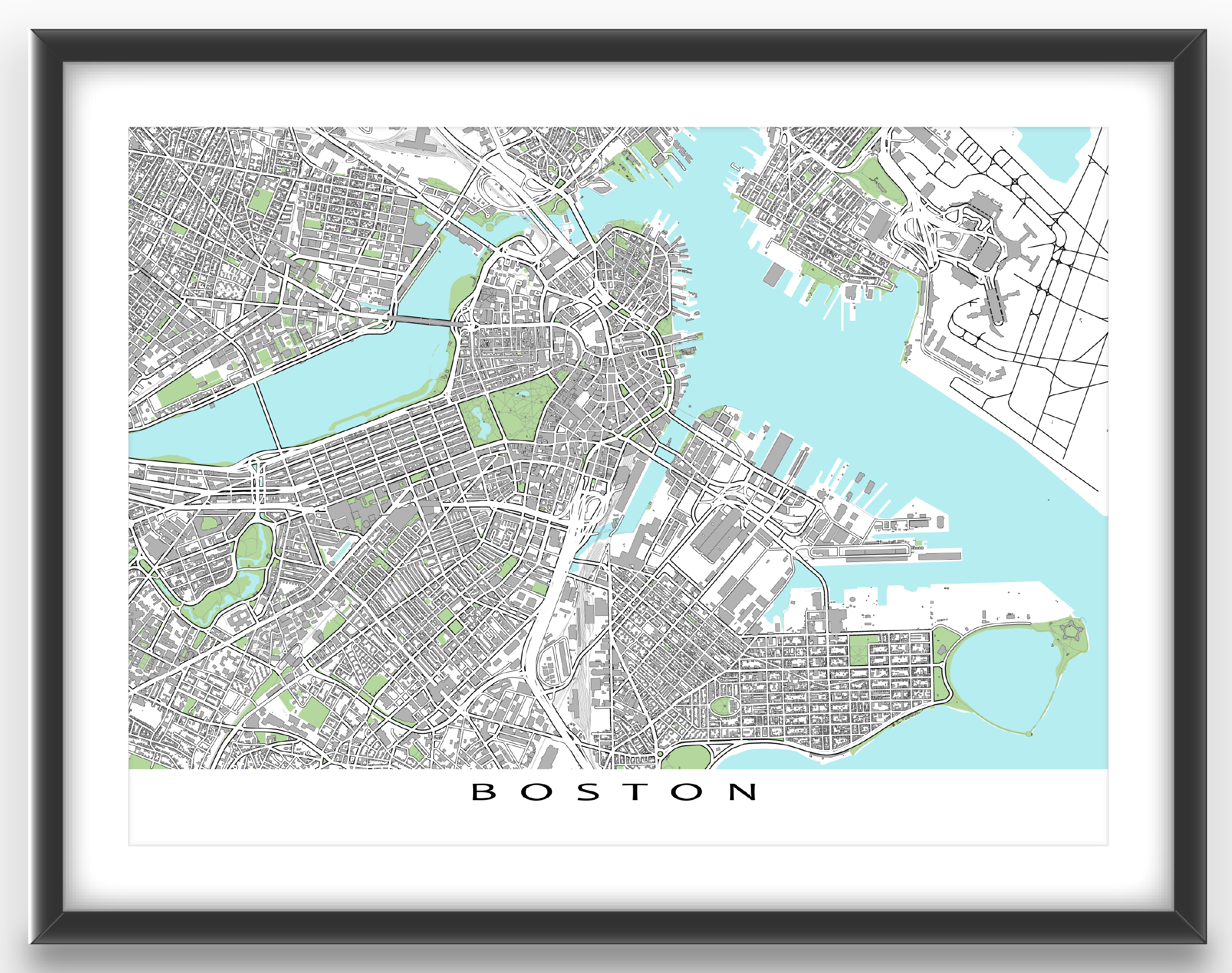 oston map print featuring the fantastic city of Boston