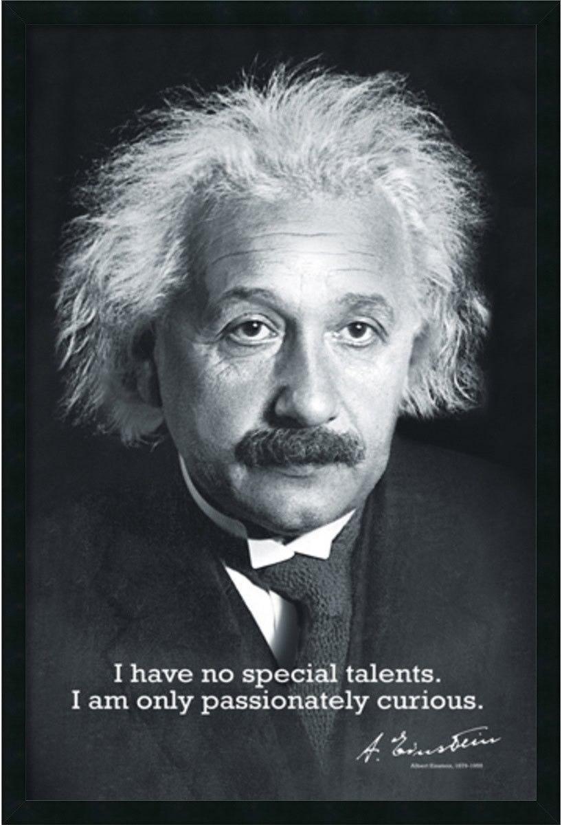37x25 Einstein Curiosity Framed Art Gel Coated Einstein Quotes Albert Einstein Quotes Albert Einstein Poster
