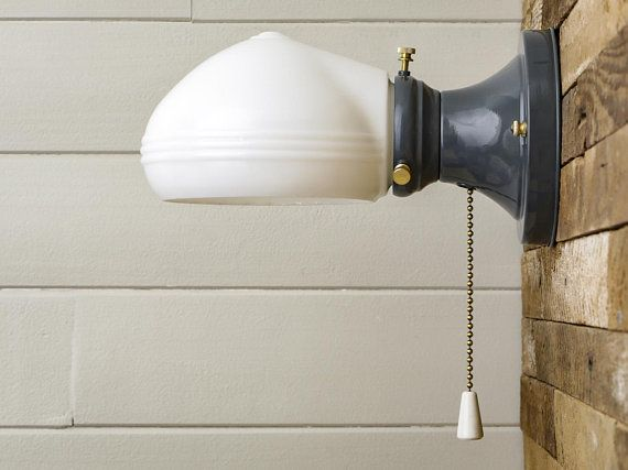 Farmhouse Vintage Rewired Gray Wall Sconce Pull Chain ...