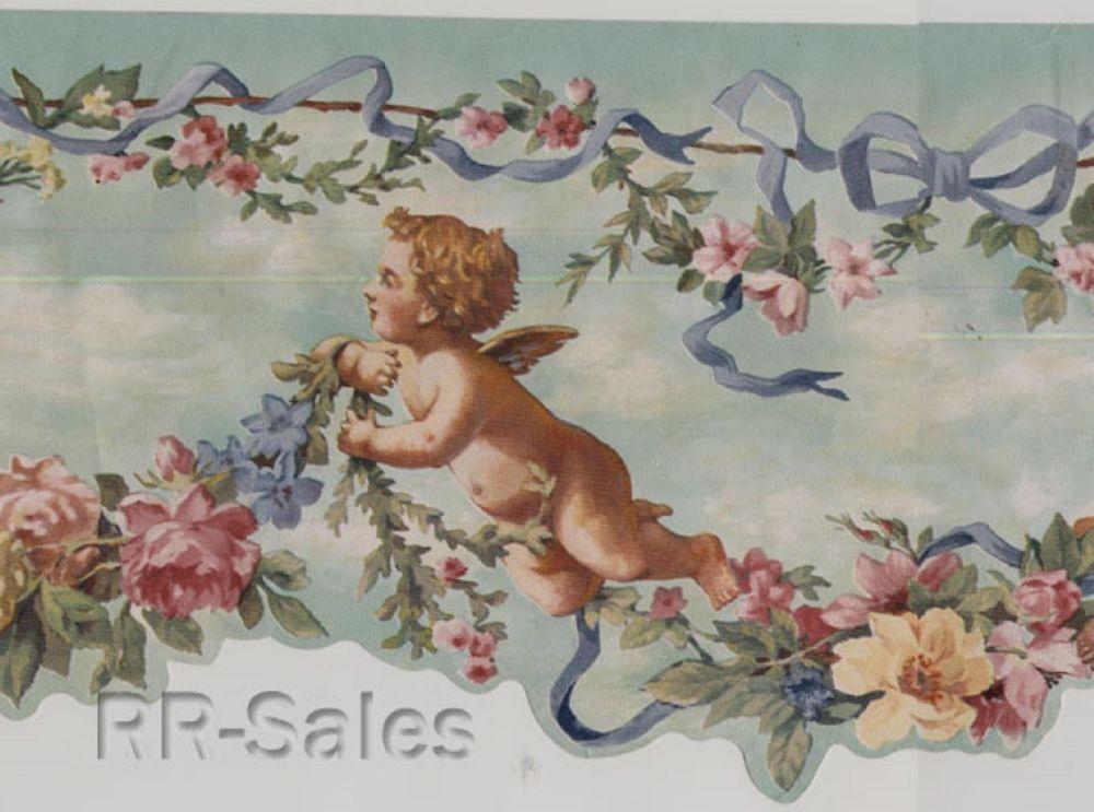 Cherubs Garden Angels Scalloped Edge Victorian Flower Rose Wallpaper Wall Border Imagenes Religiosas Pintar Religiosas